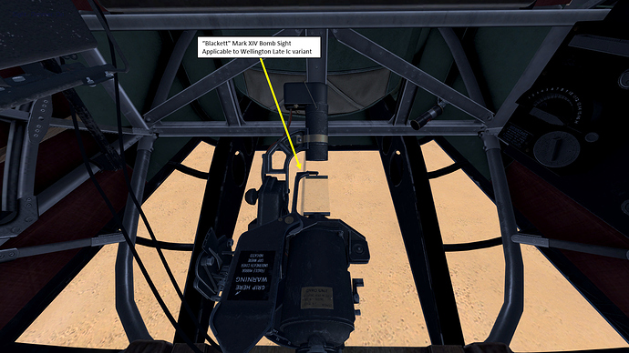 "An in game screenshot of a Wellington bomber showing the ""Blacket"" Mk. XIV Bomb Sight."