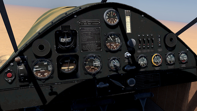 An in game screenshot of a Bf-108 Taifun from the pilots position showing a close up view of the instrument panel.