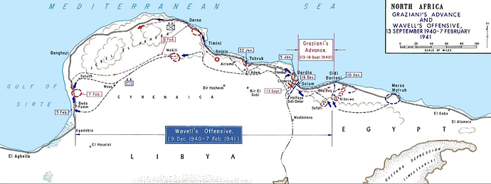 Map of Graziani's Advance and Wevell's Offensive from Sidi Barrani in the East to Benghazi in the West