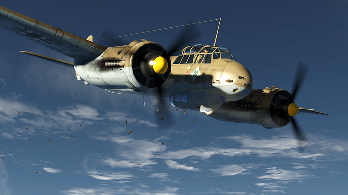 An in game screenshot of a Ju-88, external front right as it disperses shell casings over the countryside.