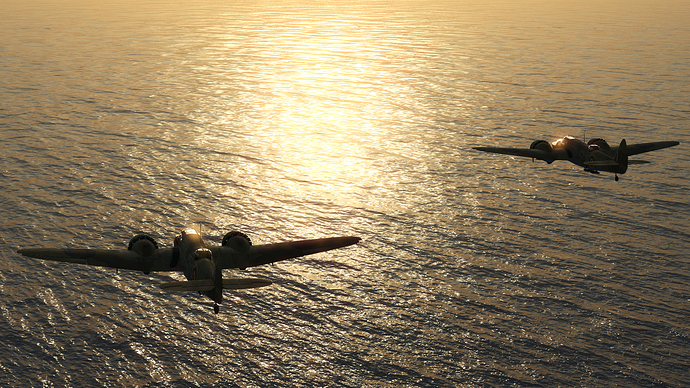 An in game screenshot of a pair of Blenhheim over the water, heading toward the sunrise/sunset.
