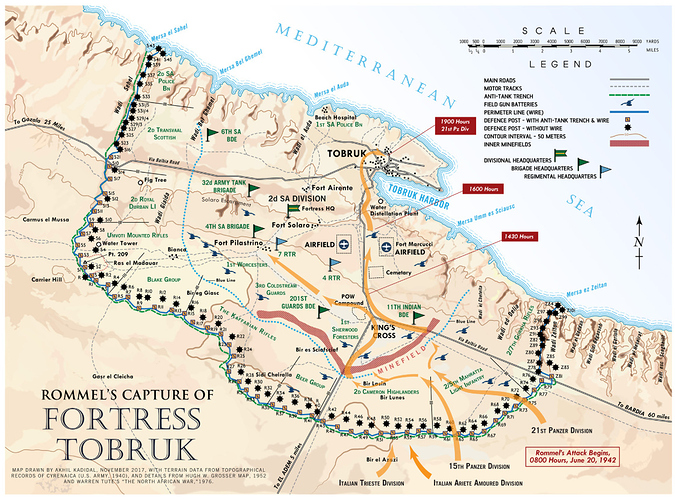 Map of Rommels Capture of Fortress Tobruk.