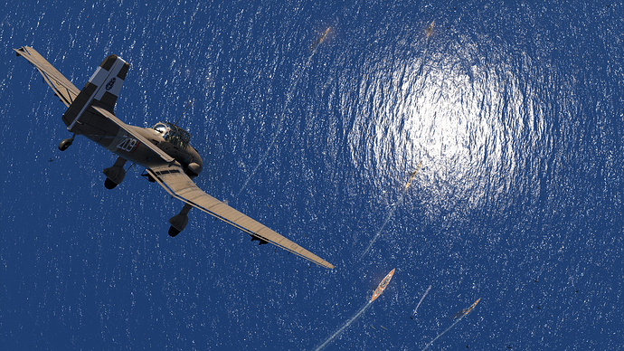 An in game screenshot of a Stuka, external from the back right in a steep dive on a naval task force.