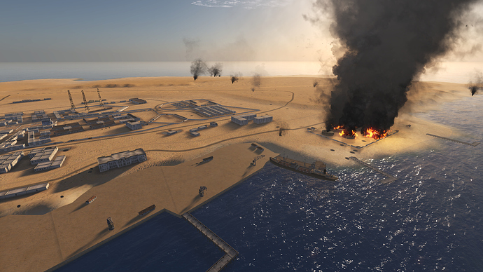 An in game, external screenshot of a port facilities showing the smoke and fire effects.