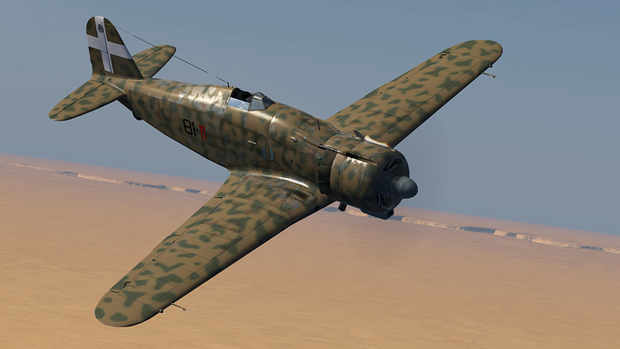 An in game screenshot of a Freccia, external from the front right as it flies over the African desert.