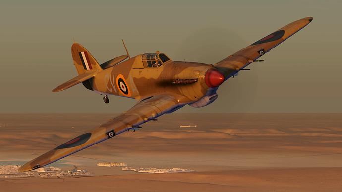 An in game screenshot of a Hurricane, external and showing the 4 20mm cannon.