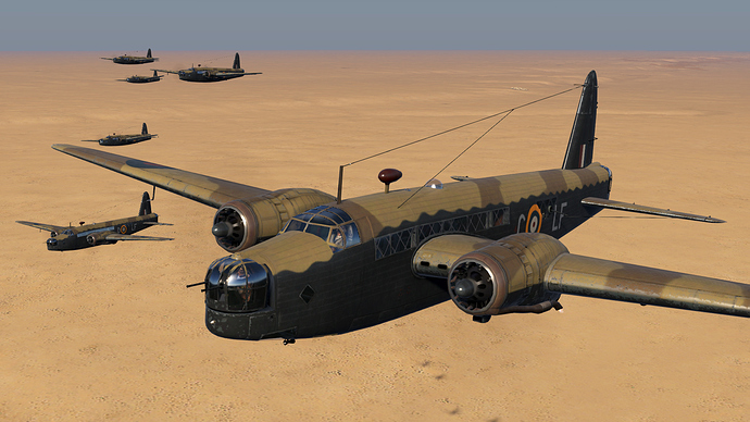 An in game screenshot of a flight of Wellington bombers, external over the desert.