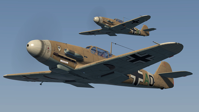 An in game screenshot of a pair of Bf-109, external showing the 'F' model.