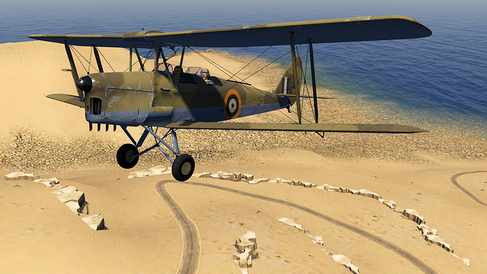 An in game screenshot of a Tiger Moth, external as it flies low over an African road.