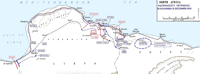 A map of North Africa showing Auchinleck's Offensive, from Sidi Barrani in the east to Benghazi in the West, from 18 November to 31 December.