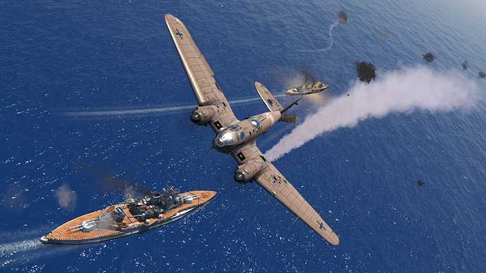 An in game, external screenshot of a He-111 showing the smoke effects an a missing part of the elevator assembly.
