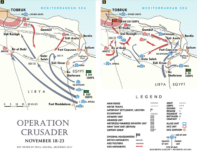 Two maps showing the details of unit movements for Operation Crusader from 18-23 November
