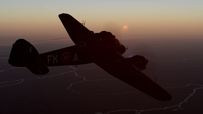 An in game screenshot of the Beaufighter climbing in a slight turn at dawn/dusk.