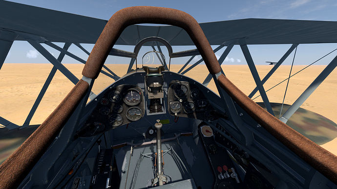 An in game screenshot of a pair of Falco from the pilots position showing the (limited) view and the instrument panel.