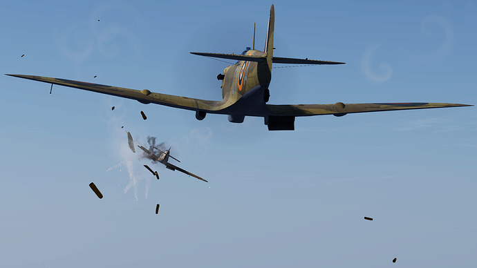 An in game screenshot of a Spitfire, external from the back showing it shooting down an adversary.