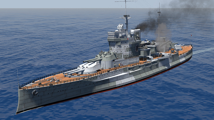 Screenshot of the Queen Elizabeth-Class Battleship as it is, in game.
