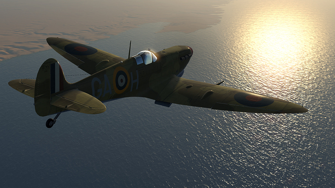 An in game screenshot of a Spitfire, external from the back right quarter flying toward a setting sun.