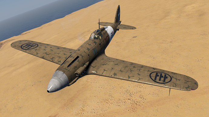 An in game screenshot of a Folgore, external from the close front left over the African desert.