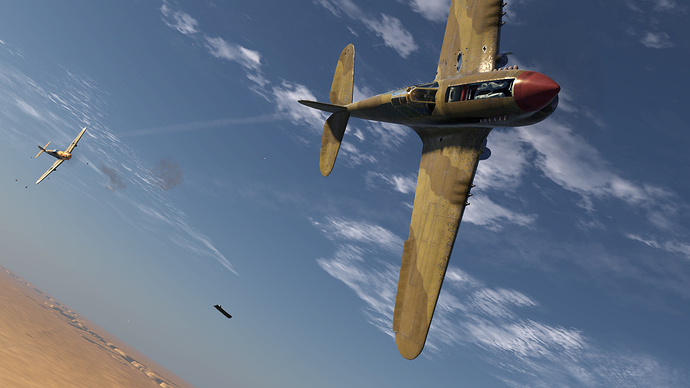 An in game screenshot of a Bf-109, external view of an adversary aircraft looking back toward the pursuing 109 firing it's weapons.